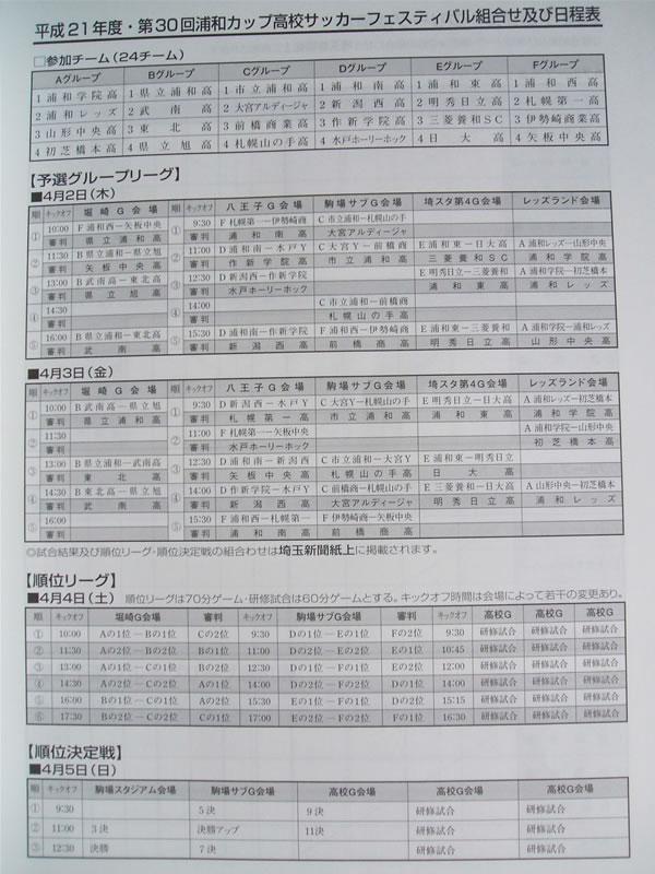 浦和カップ2009日程と組み合わせ